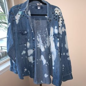 LF Studded Acid Wash Denim Shirt